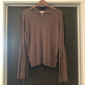 Leith Womens Sweater Bell Sleeves Size M Brown
